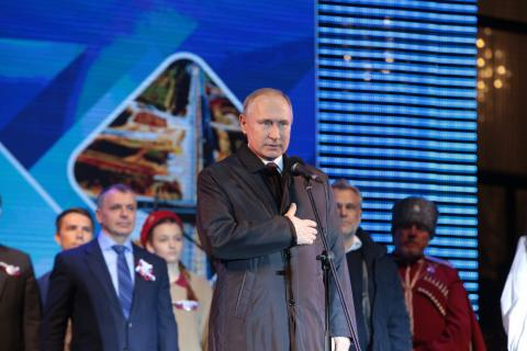 Владимир Путин поздравил крымчан  с пятилетием воссоединения  Крыма с Россией